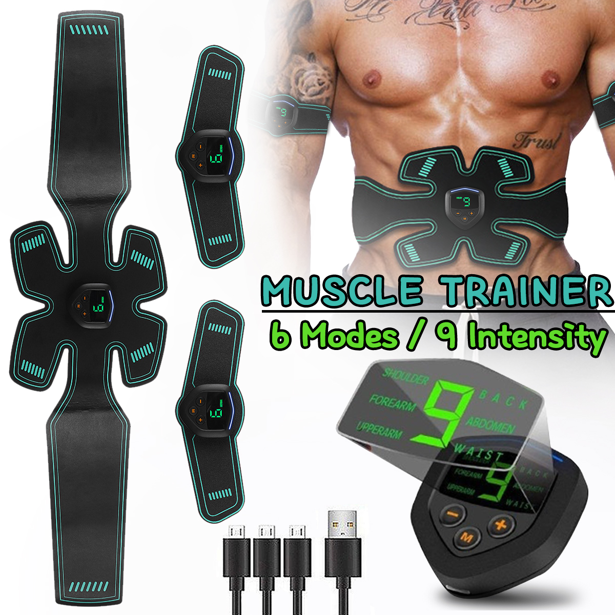 Digital Display Fitness Abdominal Muscle Training Stimulator Device Vibration Body Slimming Massager Rechargeable Muscle Trainer