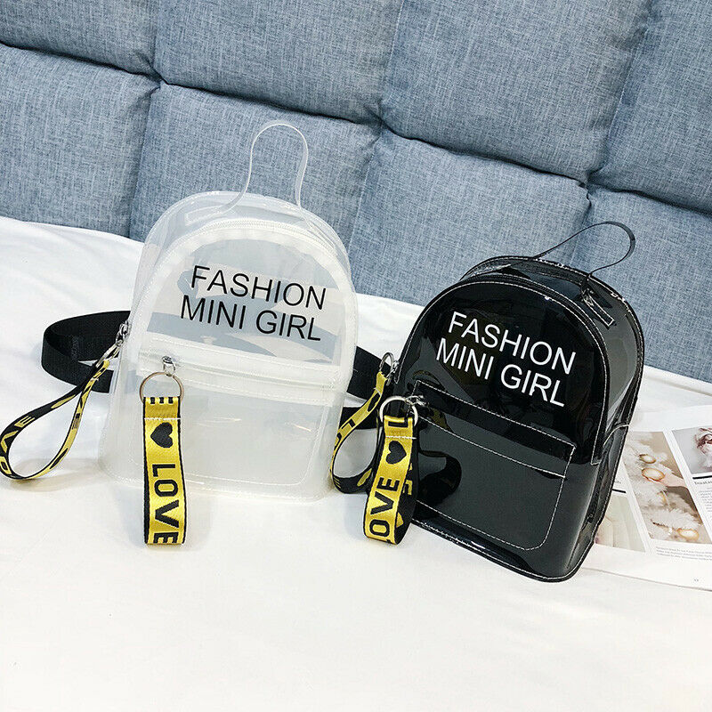 Fashion Clear Transparent Backpack Stadium Security School Book Bag Travel Travel Hot Ladies Girls Candy Color Mini Backpacks