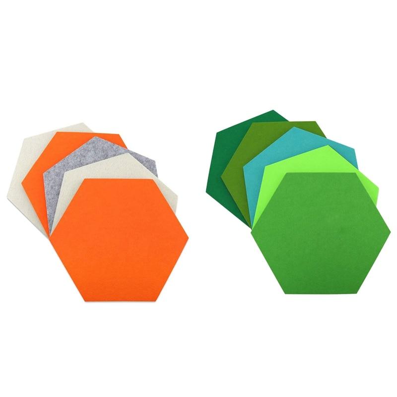 10Pcs Hexagon Felt Board Hexagonal Felt Wall Sticker Multifunction 3D Decorative Home Message Board Self-Adhesive Kids Room Base