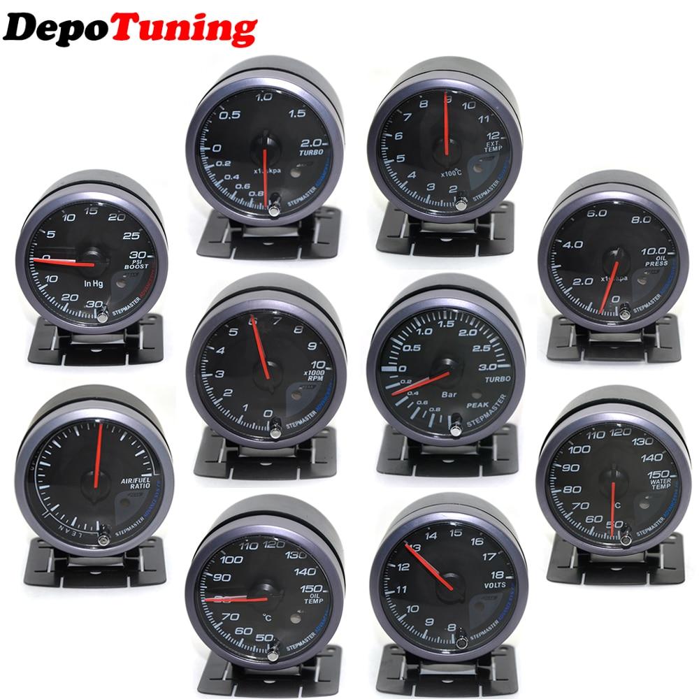 JDM Black Face Non Smoke Tachometer Car Gauge Meter RPM White or Blue LED 60mm