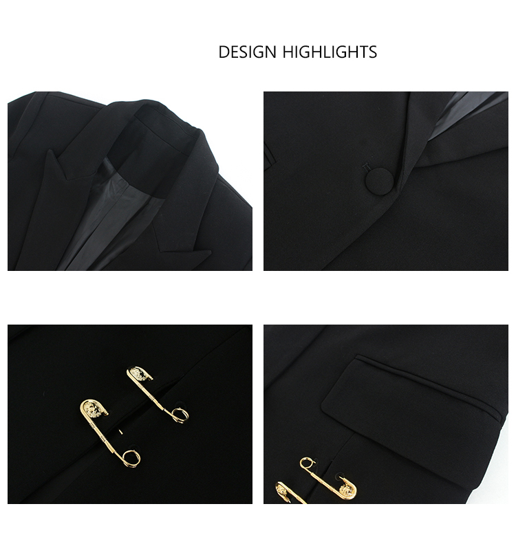 new blazer women black solid pocket sash button long sleeve office blazer women jacket oversize veste femme