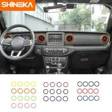 SHINEKA רכב לוח מחוונים קישוט לשקע כיסוי טבעת מדבקת פנים אביזרי עבור ג יפ רנגלר JL 2018 +