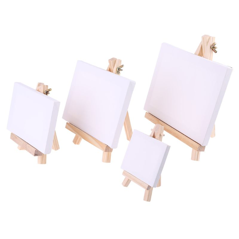 Mini Canvas Natural Wood Easel Set For Art Painting Drawing Craft Wedding Supply