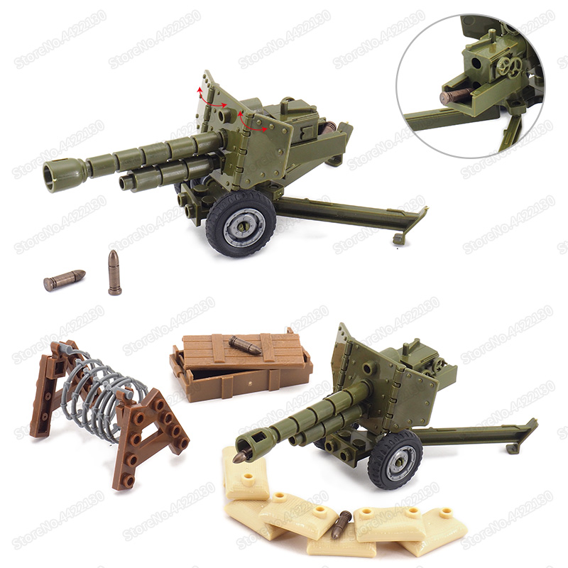 Military Weapons Cannon Howitzers World War 2 Germany Cannon Building Block Equipment Army Figures Scenes Moc Christmas Gift Toy