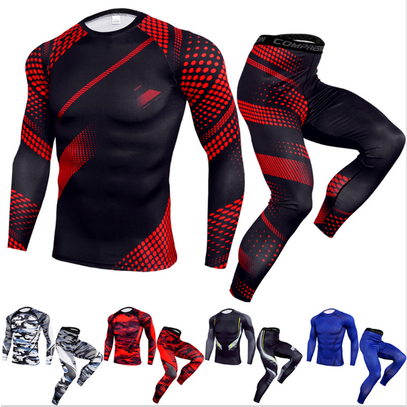 New Men's Compression Clothing Gym Suit Tights Camouflage Sportswear 2 Piece Tracksuit Men Sports Suit 4xl Rashgard Male