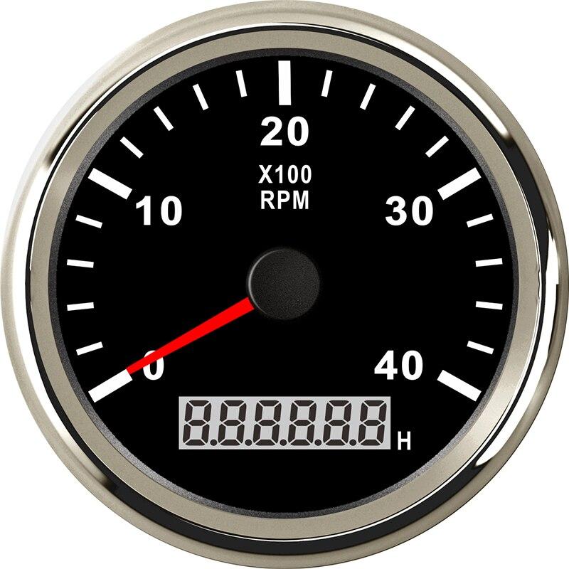 Tachymètre marin 85mm moteur heure mètre 0-4000 tr/min numérique hors-bord camion voiture bateau étanche RPM mètre tacometro auto jauge - 4