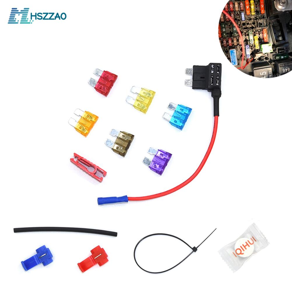 Mini,small,Medium 6 Pack 12V Car Add-a-circuit Fuse Adapter Blade Fuse Holder GPS Navigator Cigarette lighter added Tool kits image