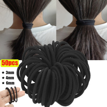50pcs Black Hairbands for Thick & Less Hair  Elastic Rubber Bands Ropes Basic Ties Hairband Ponytail Holders 3mm 4mm 6mm - discount item  31% OFF Headwear