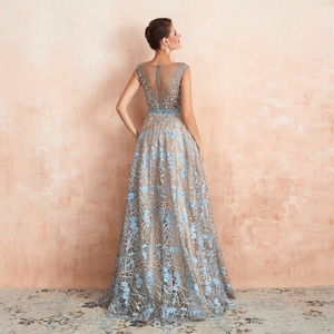 Image 2 - Blue Lace Prom Dresses 2020 Beaded Rhinestone A Line Cap Sleeves Long Sheer Neck Evening Gowns Engagement Dress Abendkleider
