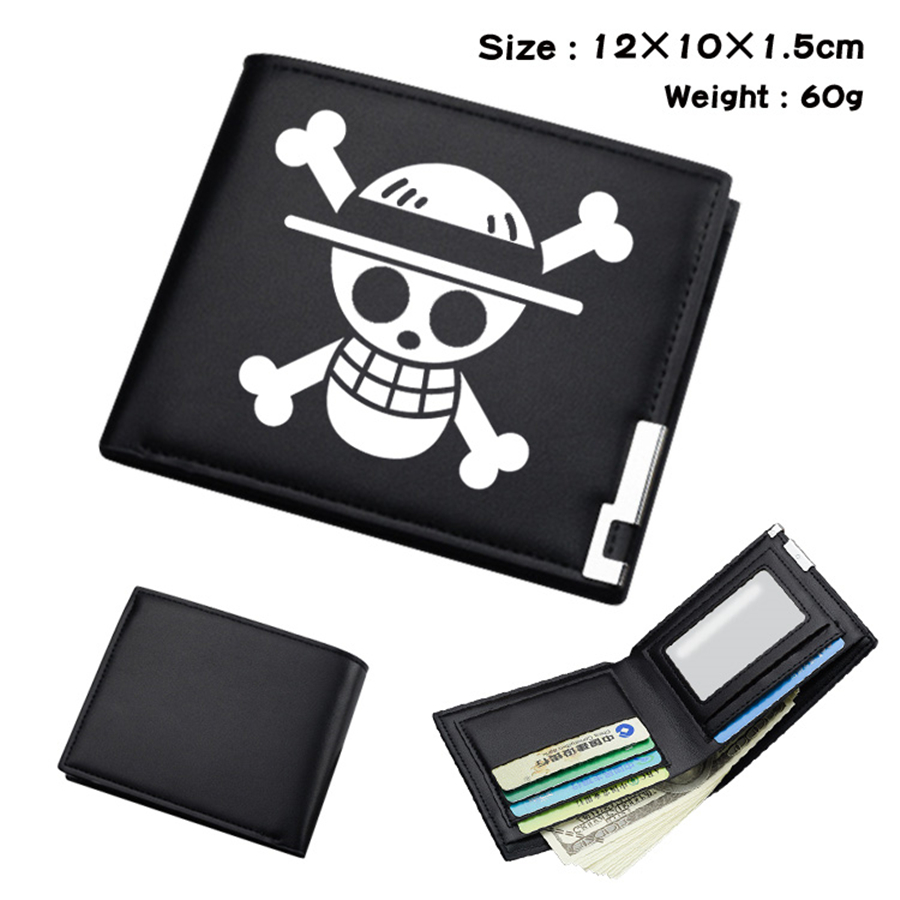 Anime One Piece Luffy Law Black PU Wallet Men's Bifold Photo Card Holder Boys Girls Teenager Leather Casual Purses Otaku Gifts