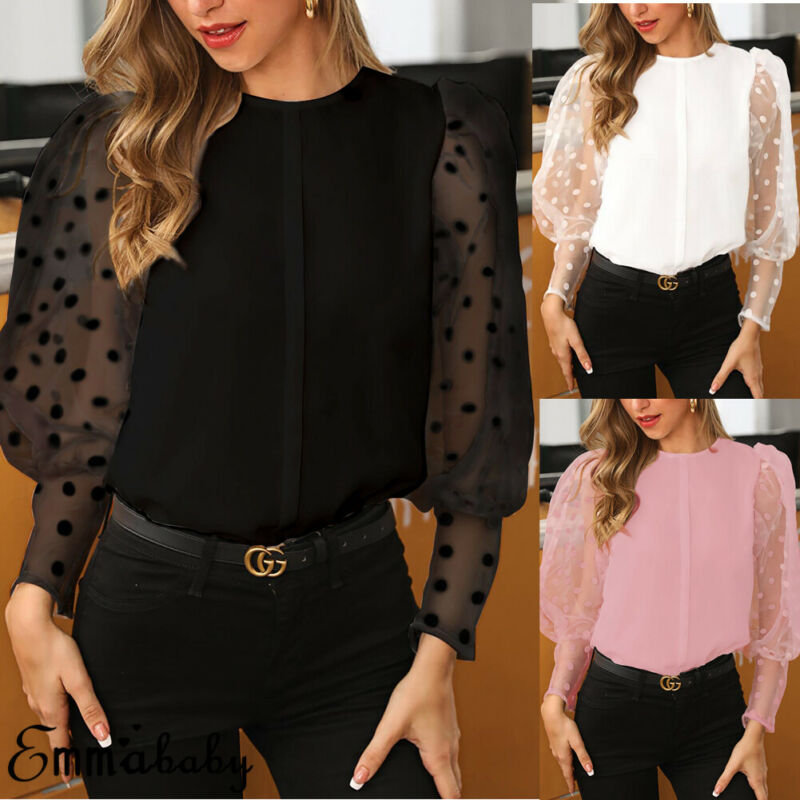 Fashion Women's Long Sleeve Sheer Blouse Spring Shirt Mesh See-through Polka Dot Chiffon Elegant Puff Sleeve Tops Plus Size