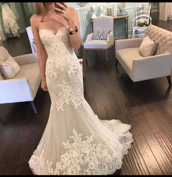 Wedding Dresses Vintage Lace Mermaid Custom Made Sweetheart Bridal Gowns Appliques Dress For Wedding 2018