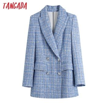 Tangada 2021 Women Double Breasted Tweed Blue Blazers Coat Office Lady Long Sleeve Pockets Female Outerwear BE508