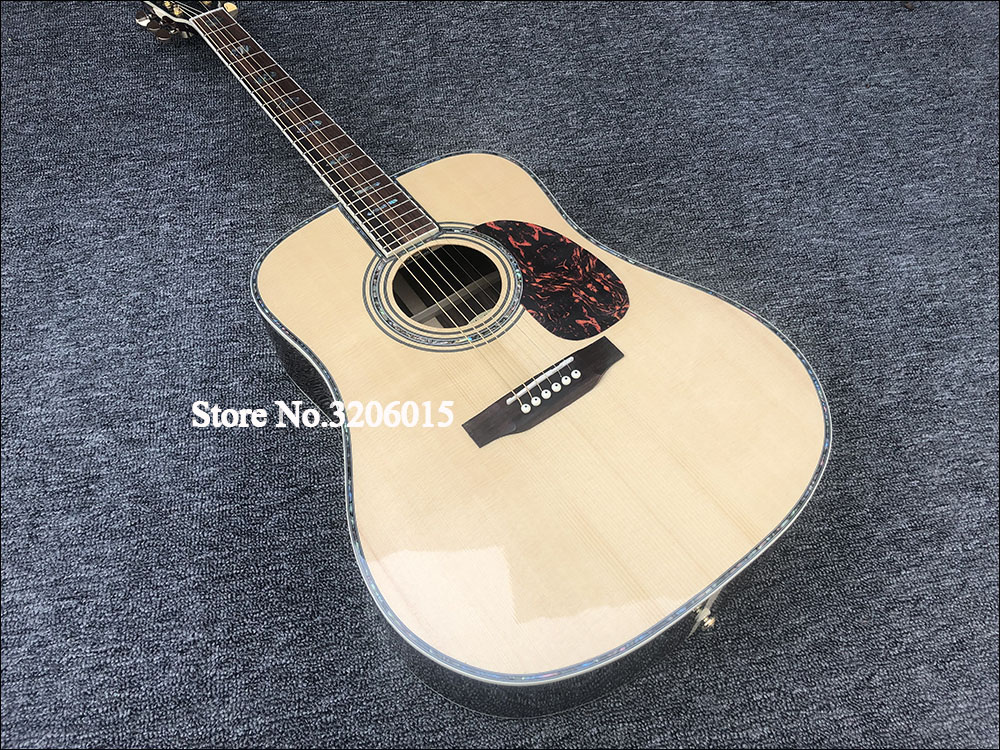 Factory custom 41'' 45 D 20 frets pearl inlay and binding acoustic guitar with EQ,colorized shell edge free shipping image