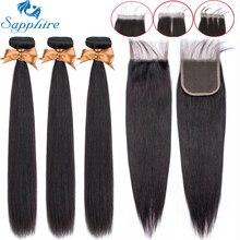 Сапфировые прямые пряди с закрытием, бразильские волосы, волнистые пряди с закрытием, человеческие волосы, пряди с закрытием, волосы для наращивания