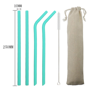 6pcs/Set Silicone Straws Reusable Drinking Straws Wide 8MM Long Flexible Straws With Cleaning Brush And Bag For 20OZ Bar Party