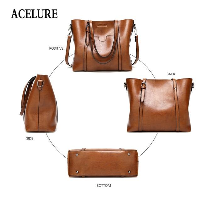 ACELURE Women bag Oil wax Women's Leather Handbags Luxury Lady Hand Bags With Purse Pocket Women messenger bag Big Tote Sac Bols 4