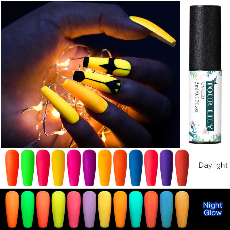 Vier Lelie Nail Gel Fluorescerende Lichtgevende Gel Nagellak Uv Glow In The Dark Gel Nagellak Lak Matte Top base Coat Primer