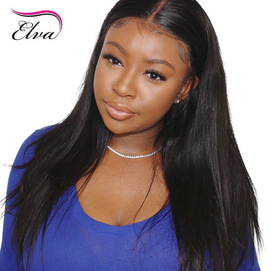 Elva 13*6 Lace Front Human Hair Wigs Pre Plucked With Baby Hair Glueless Straight Lace Wig For Black Women Brazilian Remy Hair