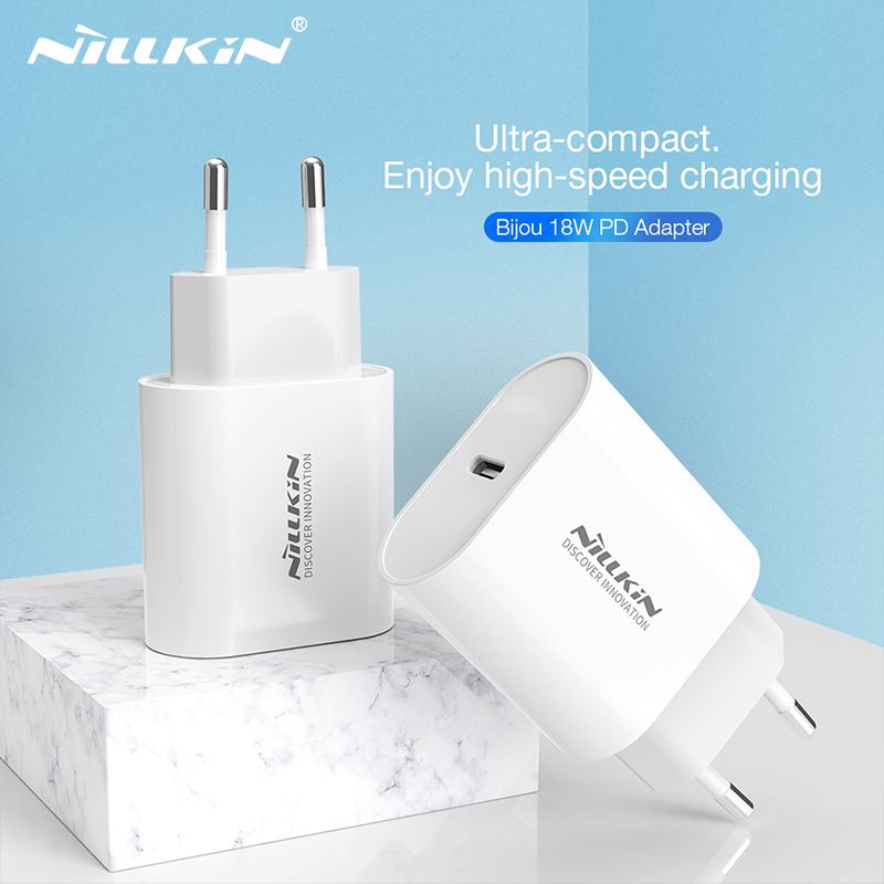USB C Charger, NILLKIN USB PD Charger With 18W PD & Foldable Plug Ultra-Compact USB C Wall Charger For IPhone 11/11 Pro For Mi 9