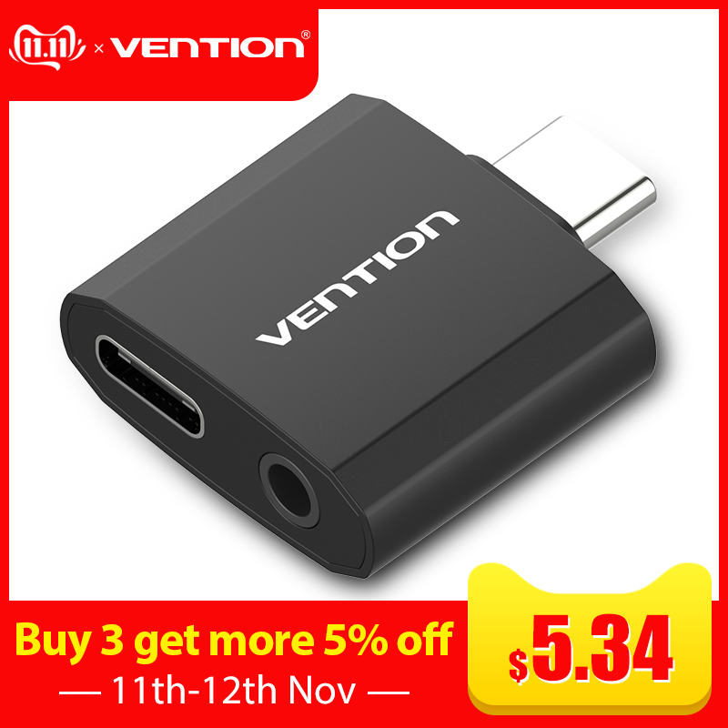 Vention USB Type C To 3.5mm AUX Audio USB3.1 To  Headphone Jack Adapter For Xiaomi 6 Note MIX HUAWEI P20 Pro Type C 3.5 Speaker
