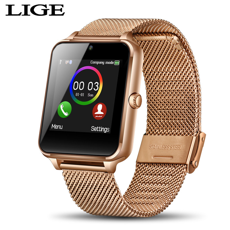 LIGE Luxury Electronic Watch Men Sports Watch Women LED Bluetooth Connection Android Ios Support SIM TF Card Metal Mesh Belt