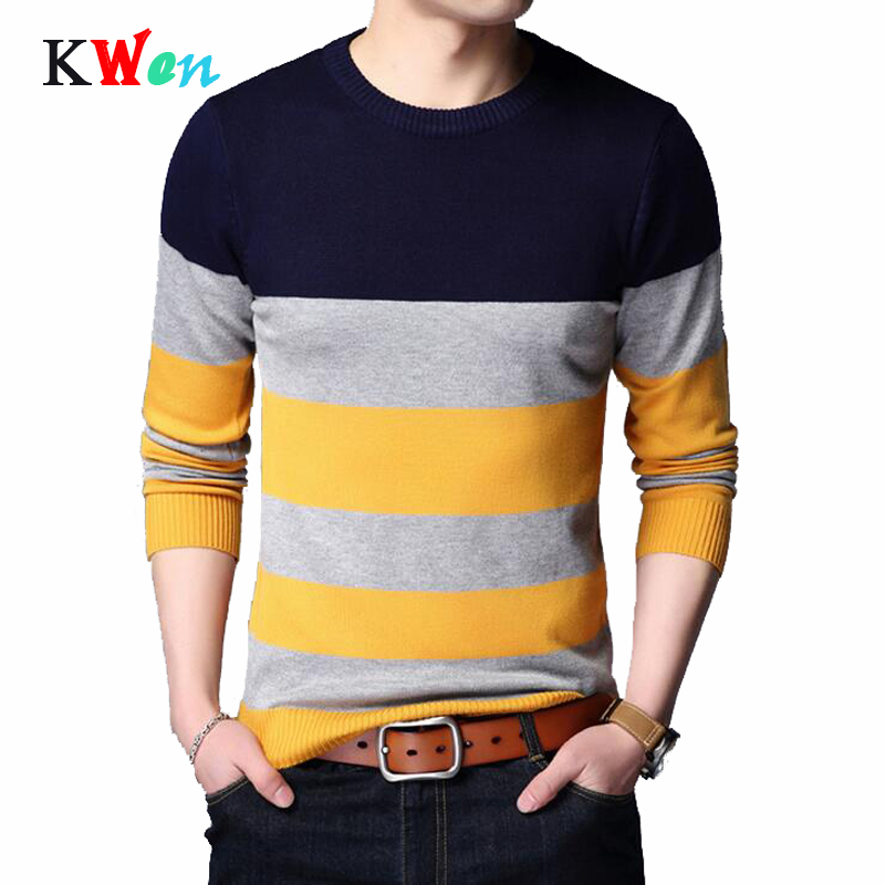 Pullover Men Brand Clothing 2019 Spring Autumn Winter Jersey Clothing Knitwear Slim Fit Sweater Men Casual Striped Pull Men