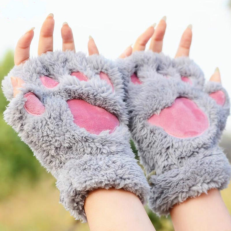 Lovely Fingerless Gloves Women Cat Claw Paw Plush Winter Gloves Female Cute Warm Soft Fluffy Mitten Gloves Half Finger Gloves