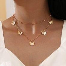 Modyle nova moda clavícula gargantilha colar para mulher cor de ouro feminino borboleta pingente colar corrente de bambu jóias presentes