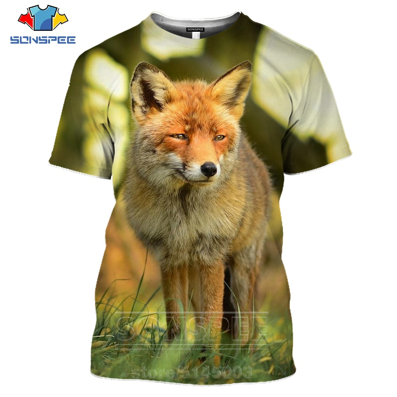 Hipster Fashion Men T shirt Tiger Fox Cat 3D Print tee Shirts Hip Hop White Tops