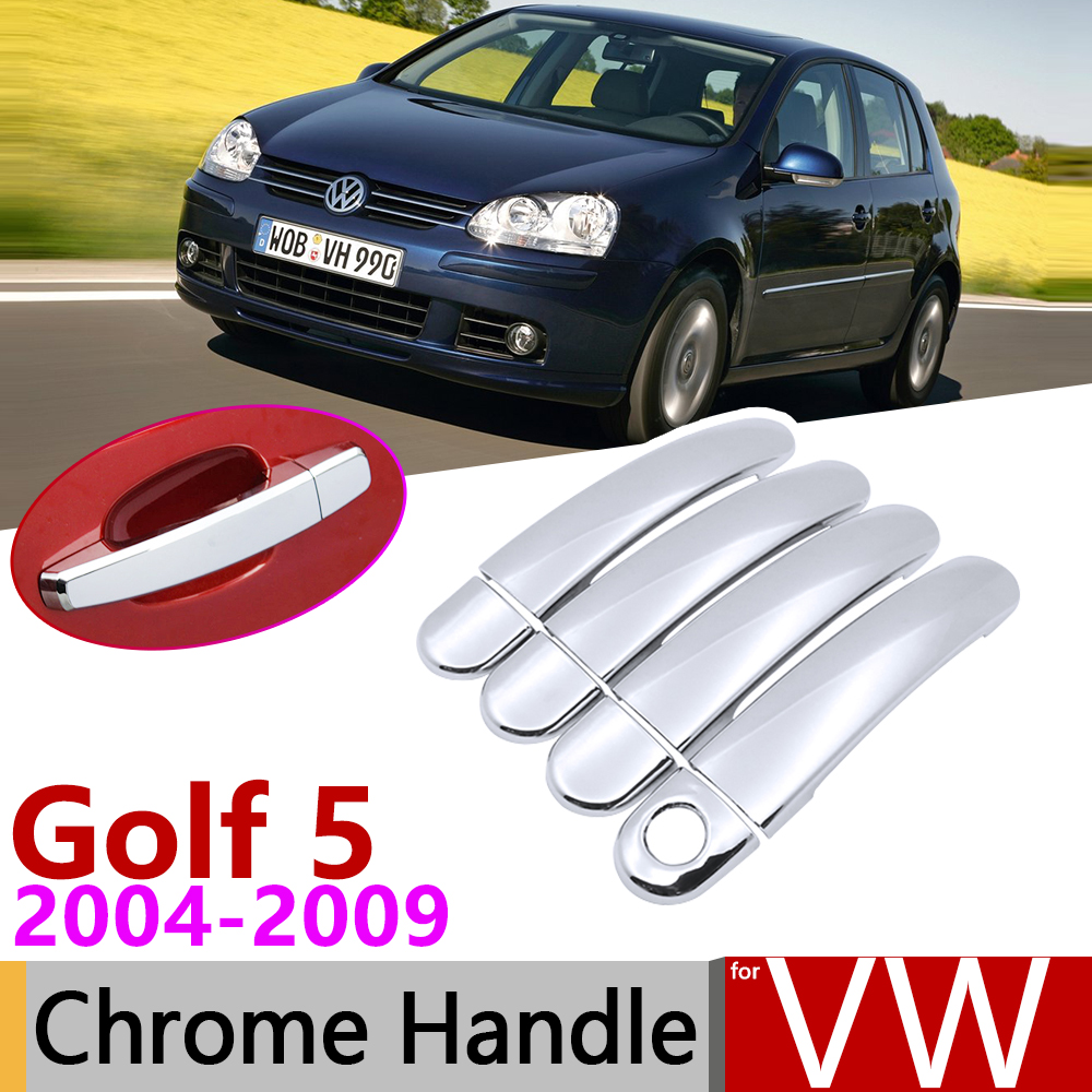 for Volkswagen <font><b>VW</b></font> <font><b>Golf</b></font> <font><b>5</b></font> MK5 <font><b>Golf</b></font> V Rabbit 1K <font><b>GTI</b></font> 2004~2009 Chrome Door Handle Cover Car <font><b>Accessories</b></font> Stickers Trim Set 2005 2008 image