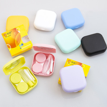 Pocket Contact Lens Case with Mirror Cute Eyewear Case Box Travel Kit Mini Cosmetic Contact Lens Container Portable Muti Colors image