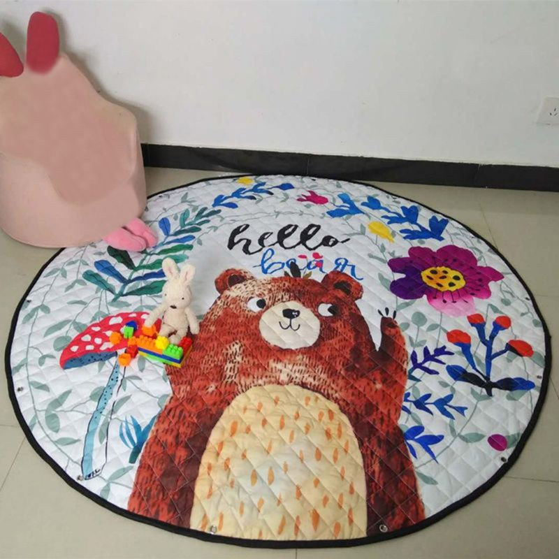 Round Cartoon Children Toy Game Storage Mat Cute Baby Crawling Pad 19QF