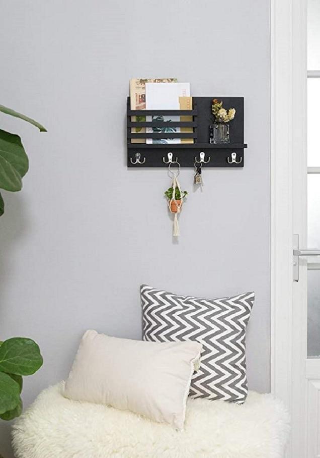Wall Mounted Mail Holder Coat Rack Hanger Key Hanger Wooden Mail Sorter Organizer with 4 Double Key Hooks Wall Shelf Wood 5