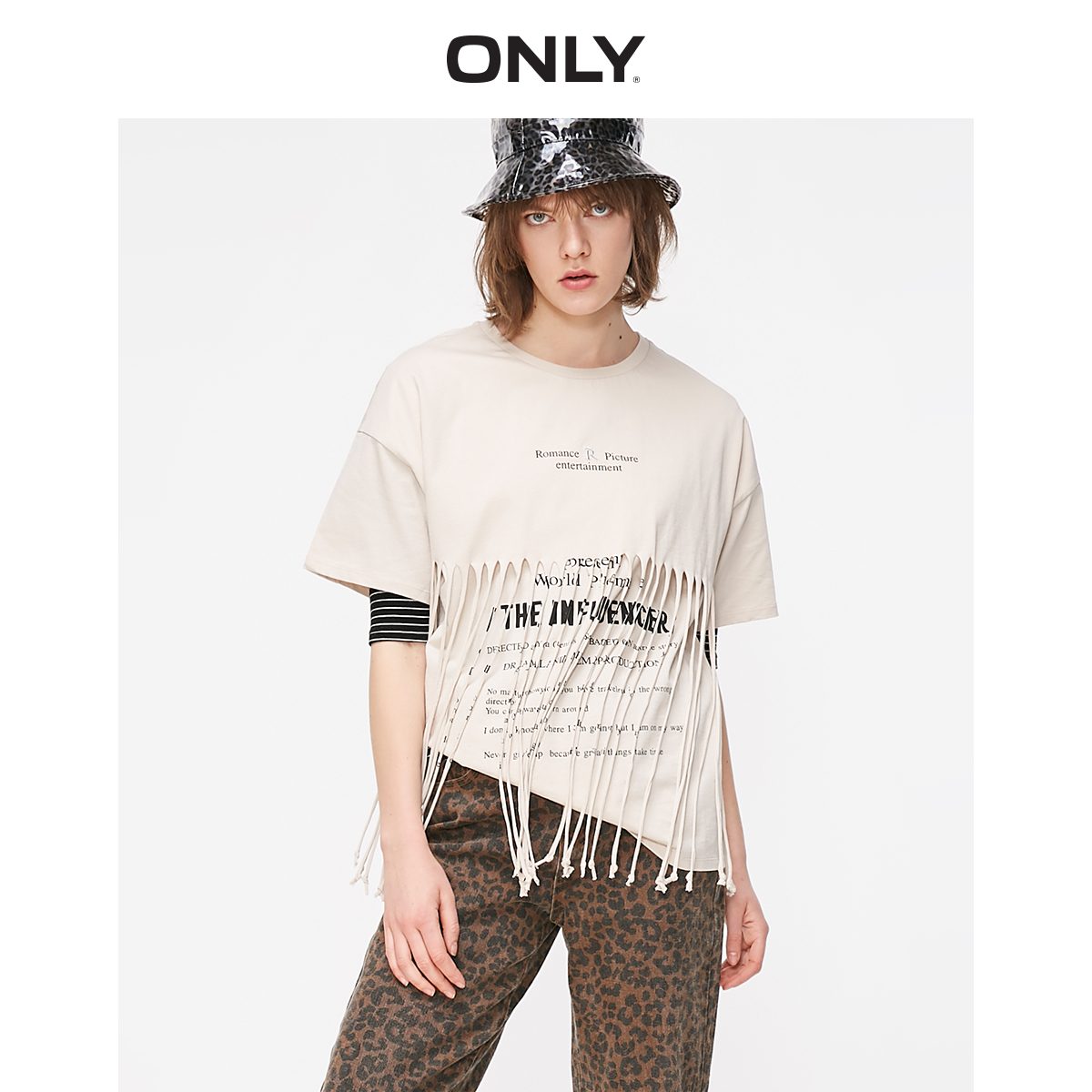 ONLY Women's Loose Fit 100% Cotton Fringed Letter Print Drop-shoulder Elbow Sleeves T-shirt   119201535