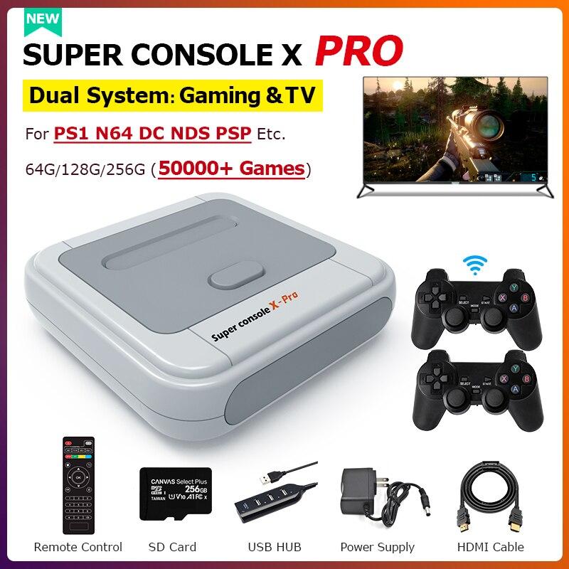 50000 + игр Супер консоль X PRO Ретро Мини ТВ видео игровые консоли 4K HD Wi-Fi Портативная детская игровая консоль для PS1/N64/DC