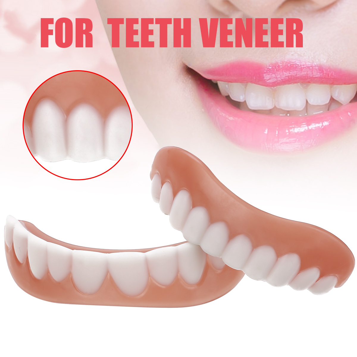 New Smile Perfect Snap Top & Bottom Veneer Cosmetic Teeth Cover Silicone Simulation Teeth Whitening Braces