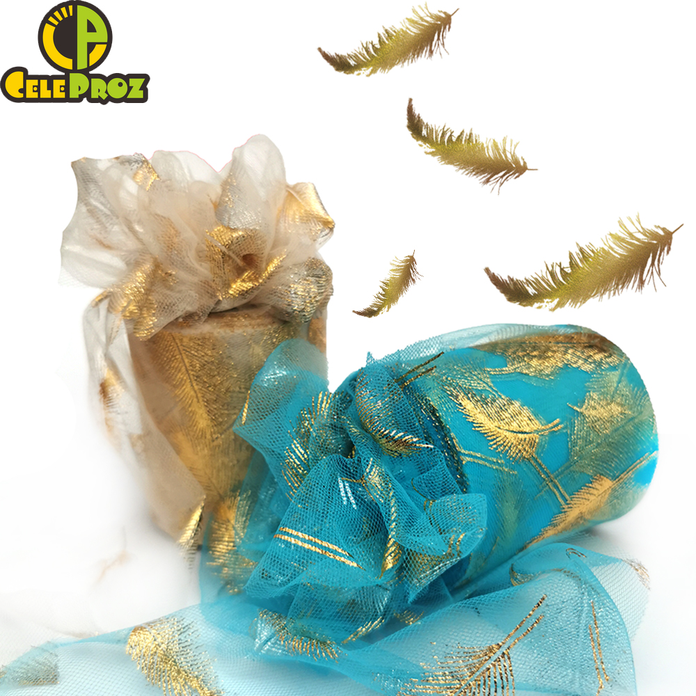 7.5cm 25yards Golden Feather Tulle Gilded Mesh Fabric DIY Sewing Crafts Hair Clip Pom Bowknot Baking Cake Topper Material Supply 1