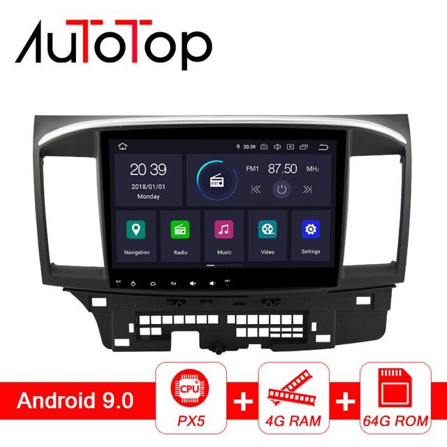 "Autotop 10.1 ""PX5 Dsp 2 Din Android 8.1/9.0 Auto Radio Voor Mitsubishi Lancer X 2007 2018 gps Navigatie Bluetooth 4G Wifi Geen Dvd"