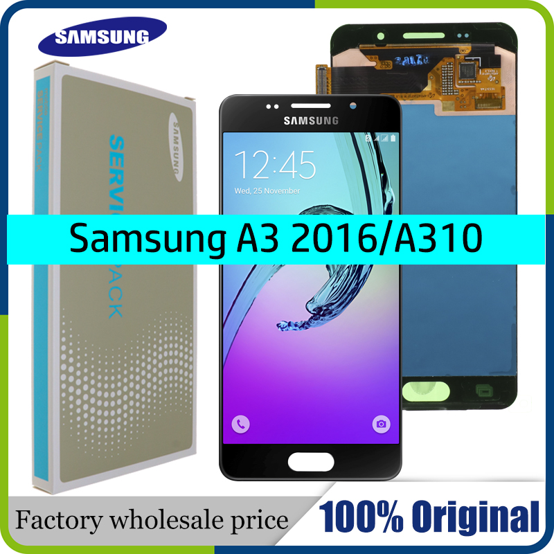 SUPER AMOLED 4.7'' LCD For SAMSUNG Galaxy A3 2016 A310 A310F A3100 LCD Display Touch Screen Digitizer Assembly+Service package(China)