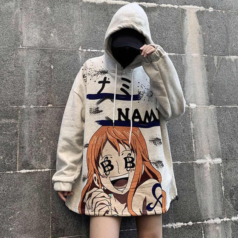 Lovers Sweatshirt Oversized Hoodies Women One Piece Cartoon Casaco Feminino Stranger Things Adventure Time Streetwear Kawaii