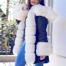 Womens Fleece Winter Jacket Hooded Down Coat Fishtail Warm Long Sleeves Overcoat Fur cap Cotton Padded medium-long Parkas cheap Solid sssss 800 0 Casual Pockets Adjustable Waist Belt Feather Full Polyester Thick (Winter) Broadcloth NONE 100g