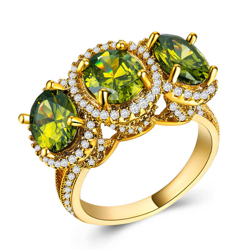 バゲ Ringen 100% リアルシルバー 925 チャームリング黄金色サファイア宝石ジュエリー婚約結婚指輪サイズ 6-10 卸売