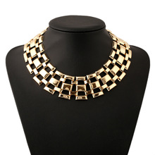 Hip Hop Geometry Heavy Metal Clavicle Choker Delicate Necklace for Women Exquisite Gold Color Bridal Collar Statement Jewellery delicate solid color bat necklace for women