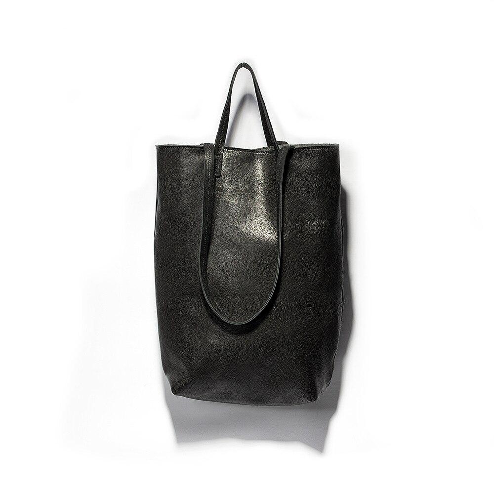 Sac femmes 2019 printemps nouveau Style original fait à la main en cuir véritable sac fourre-tout en peau de mouton noir décontracté Portable épaule B