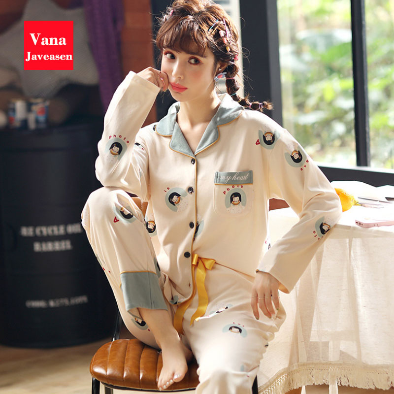 Vana Javeasen Autumn Cotton Women Pajamas Sets Long Sleeved Turn-down Collar Homewear Cartoon Womens Sleepwear Ladies Nightwear
