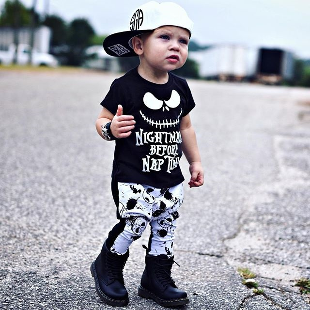 Infant Baby Boys Clothes Set Skull Halloween New Nightmare Before Nap Tops T-shirt+Print Pants 2PCS Baby Clothing Outfits