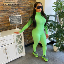 ANJAMANOR Front Zipper Long Sleeve One Piece Bodycon Jumpsuit Woman Ribbed Stacked Sweatpants