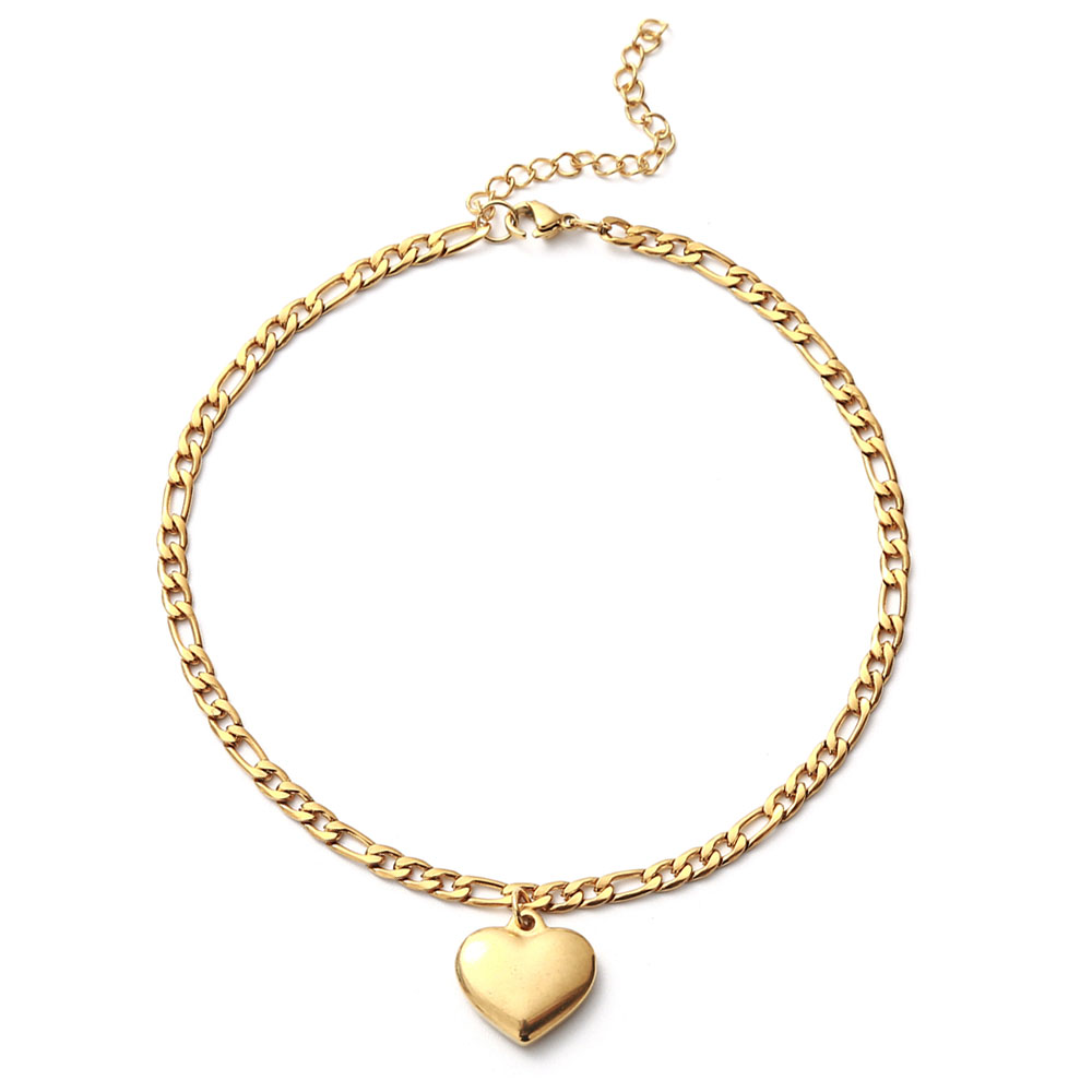 Stainless Steel Figaro Chain Anklet Bracelet For Women Girls Heart Charms Anklet Femme Foot Jewelry
