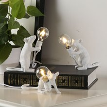 Nordic Design Mouse Lamp Table Lights Bed Side Decor Luminaria Table Lamp Body Resin Mouse Table Lamp Modern Lampara De Mesa(China)